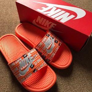 sale retailer b93b2 f7819 Nike Shoes - Nike Benassi Just Do It Print Slides Total Orange